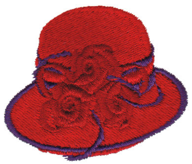 """Embroidery Design: Red Hat with Purple Trim2.53"""" x 2.08"""""""