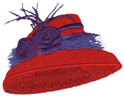 """Embroidery Design: Red Hat with Feathers3.12"""" x 2.38"""""""