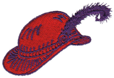 """Embroidery Design: Red Hat with Purple Feather2.72"""" x 1.81"""""""