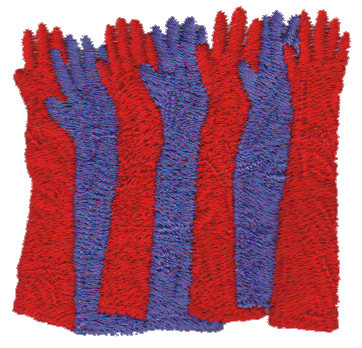 """Embroidery Design: Red & Purple Gloves2.29"""" x 2.20"""""""