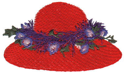 """Embroidery Design: Foxy Red Hat3.48"""" x 1.99"""""""