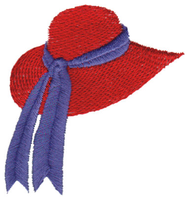 """Embroidery Design: Red Hat with Ribbon2.75"""" x 2.89"""""""