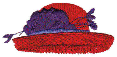 """Embroidery Design: Red Hat w/ Curved Brim2.76"""" x 1.27"""""""