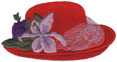 """Embroidery Design: Red Hat with Large Flower4.67"""" x 2.44"""""""