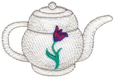 "Embroidery Design: Tulip Teapot3.59"" x 2.40"""