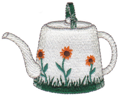 "Embroidery Design: Sunflower Teapot3.30"" x 2.64"""