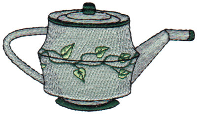 "Embroidery Design: Leaf Teapot3.83"" x 2.16"""