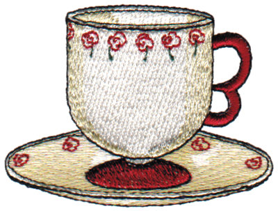 "Embroidery Design: Rose Teacup2.88"" x 2.15"""