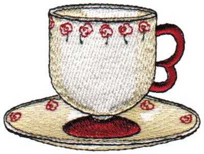 "Embroidery Design: Rose Teacup2.88"" x 2.15"""