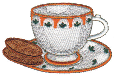 "Embroidery Design: Tea & Biscuits2.97"" x 1.89"""