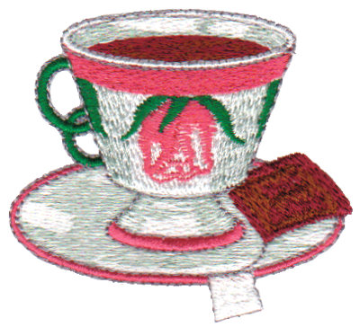 "Embroidery Design: Rose Teacup2.65"" x 2.34"""