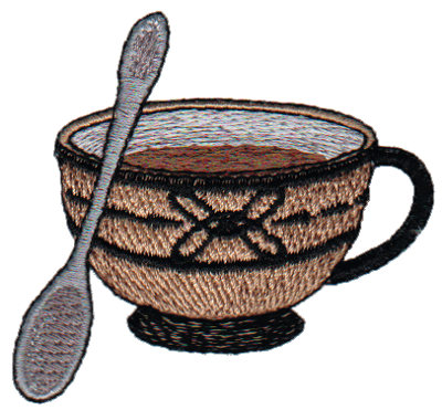 "Embroidery Design: Coffee Cup/Teacup with Spoon2.57"" x 2.40"""