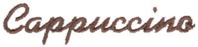 "Embroidery Design: Cappuccino3.00"" x 0.67"""