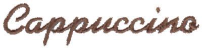 """Embroidery Design: Cappuccino3.00"""" x 0.67"""""""