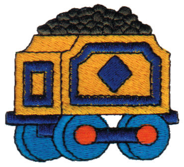 "Embroidery Design: Coal Cart2.55"" x 2.11"""