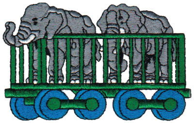 "Embroidery Design: Elephant Cage3.92"" x 2.45"""