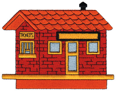 "Embroidery Design: Train Station5.05"" x 3.94"""
