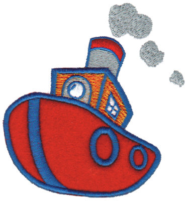 """Embroidery Design: Tugboat Applique3.50"""" x 3.73"""""""