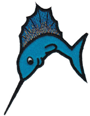 "Embroidery Design: Marlin Applique3.52"" x 4.51"""