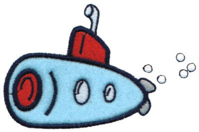 "Embroidery Design: Submarine Applique4.18"" x 2.64"""