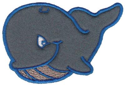 "Embroidery Design: Whale Applique3.62"" x 2.59"""