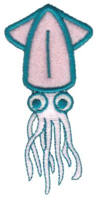 """Embroidery Design: Squid Applique1.96"""" x 3.18"""""""