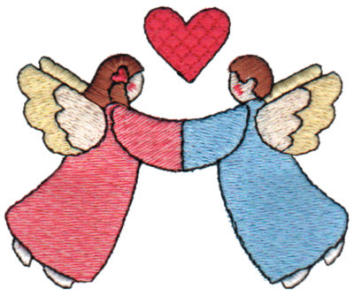 "Embroidery Design: Angels In Love3.12"" x 2.54"""