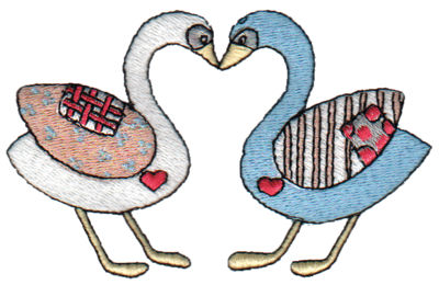 "Embroidery Design: Kissing Geese3.84"" x 2.38"""