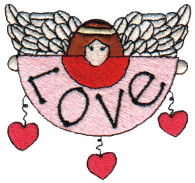 "Embroidery Design: Angel w/ Love Banner2.95"" x 2.75"""
