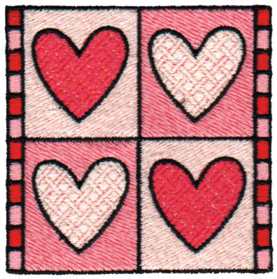 "Embroidery Design: Heart Quilt Square3.06"" x 3.07"""