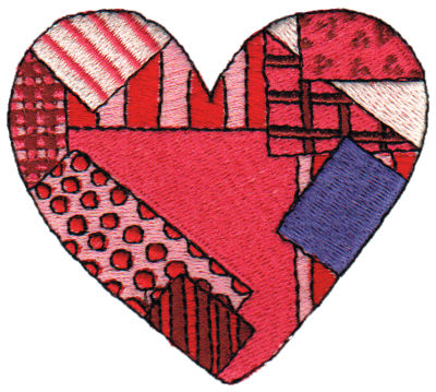 "Embroidery Design: Patchwork Heart2.95"" x 2.68"""