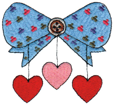 "Embroidery Design: Bow with Hanging Hearts3.05"" x 2.77"""