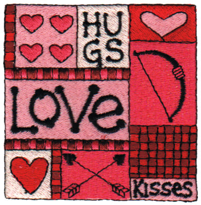 "Embroidery Design: Hugs, Love & Kisses3.07"" x 3.06"""