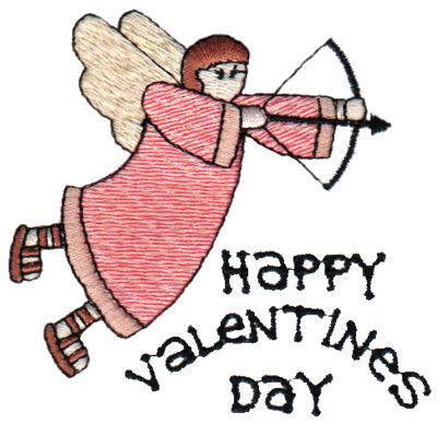"Embroidery Design: Happy Valentine's Day - Angel3.17"" x 3.00"""