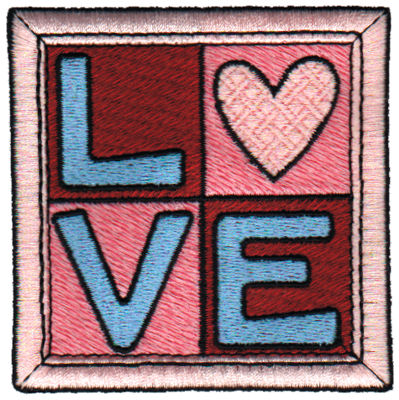 """Embroidery Design: Love Quilt Square3.07"""" x 3.09"""""""