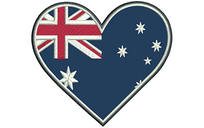 Embroidery Design: Aussie Heart Applique Lg 5.05w X 4.50h