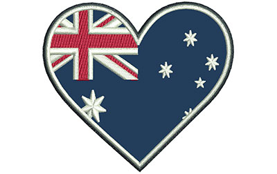 Embroidery Design: Aussie Heart Applique Sm 3.05w X 2.72h