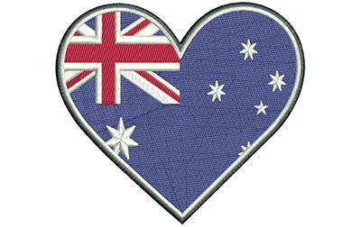 Embroidery Design: Aussie Heart Lg 5.05w X 4.50h