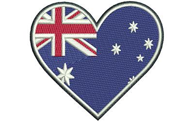 Embroidery Design: Aussie Heart Sm 3.05w X 2.72h