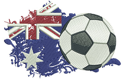 Embroidery Design: Aussie Soccer Med 5.00w X 3.30h