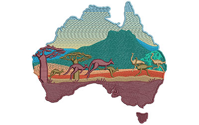 Embroidery Design: Australia Outback Lg 6.02w X 5.47h