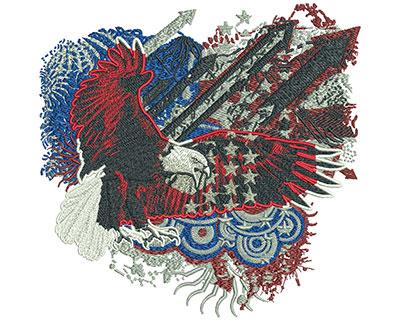 Embroidery Design: Patriotic Eagle Arrows Lg 7.88w X 7.71h