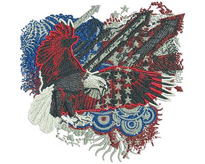 Embroidery Design: Patriotic Eagle Arrows Sm 5.88w X 5.75h