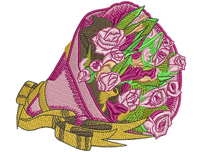 Embroidery Design: Bag of Roses Lg 4.23w X 3.78h