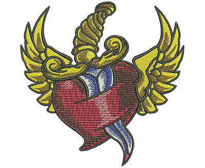 Embroidery Design: Dagger Heart Wings Lg 4.52w X 4.52h