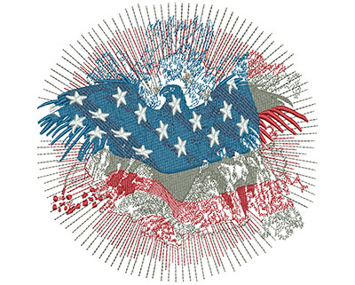 Embroidery Design: American Eagle Fireworks Lg 5.75w X 5.73h