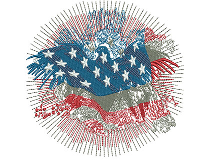 Embroidery Design: American Eagle Fireworks Med 4.76w X 4.74h