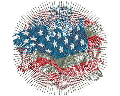 Embroidery Design: American Eagle Fireworks Sm 3.76w X 3.74h