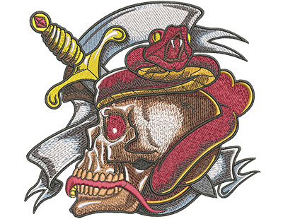 Embroidery Design: Tattoo Skull And Snake Lg 6.47w X 5.94h