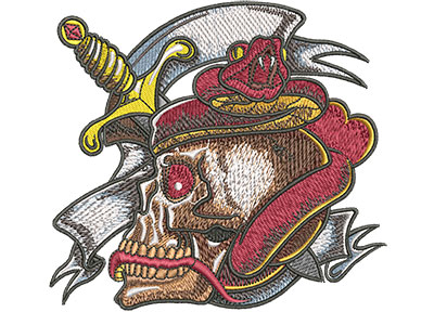 Embroidery Design: Tattoo Skull And Snake Sm 4.47w X 4.11h